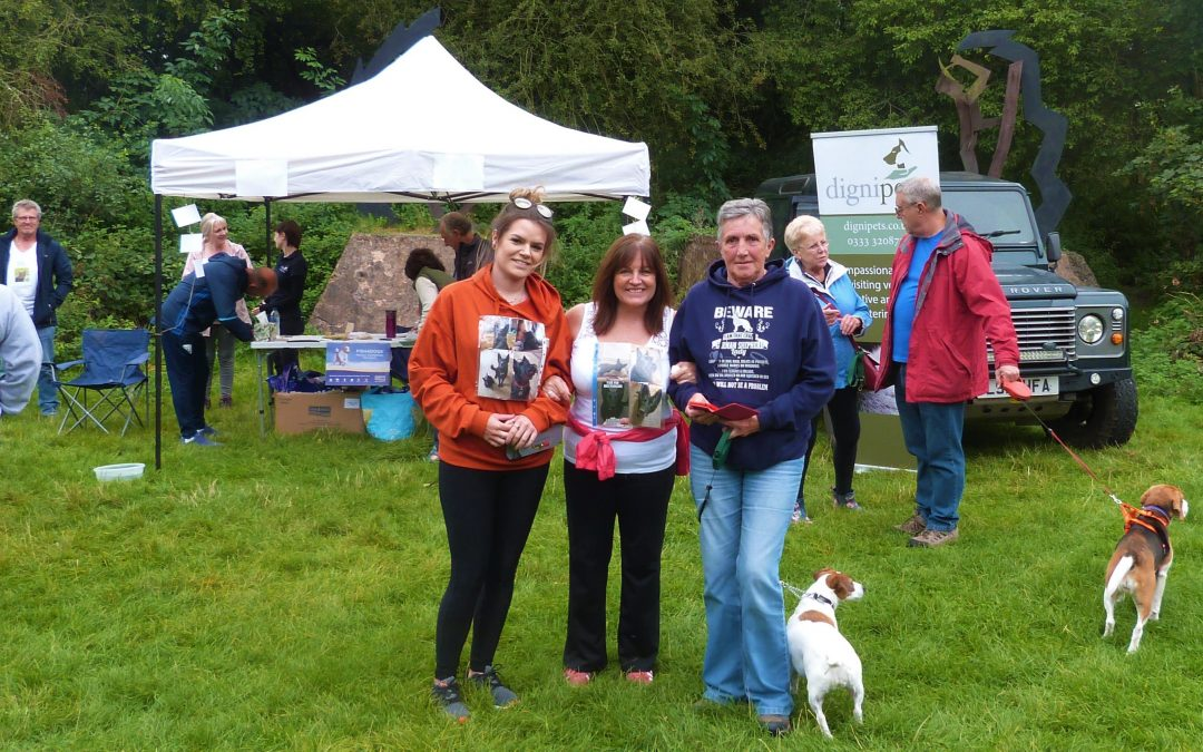 People gather for the Dignipets Pet Memorial Walk at Baggeridge Country Park